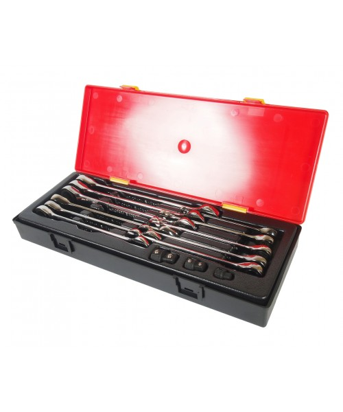 Набор ключей рожково-накидных с трещоткой 8-19мм 14 ед.