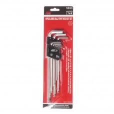Набор угловых ключей HEX с шаром 1,2-10мм удлиненных 10ед. 5353 JTC