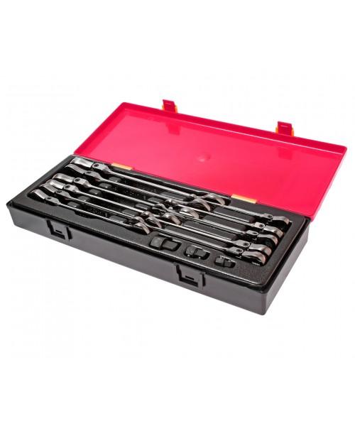 Набор ключей рожково-накидных 8-19мм., шарнирных с трещоткой (14ед.) K6142 JTC