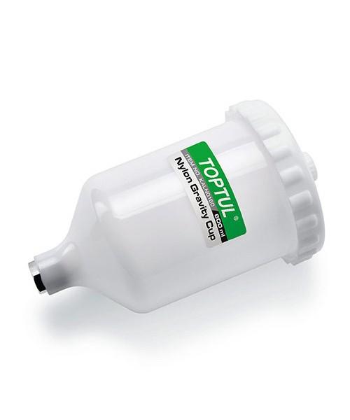 Бачок для краскопульта пластиковый 600 мл (внутренняя резьба M16*1.5) TOPTUL KALN0160
