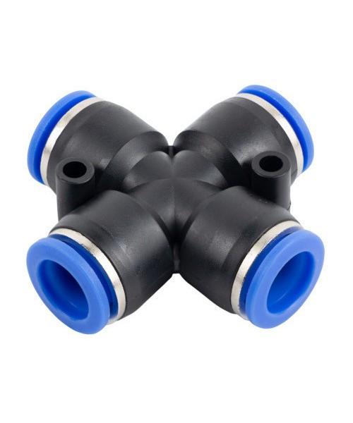 Соединение цанговое Х-образное для полиуретановых шлангов 6мм AIRKRAFT SPZA06