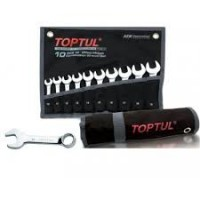 Набор ключей комбинированных укороченных. 10 шт. 10-19 (черный чехол) Toptul GPAF1001