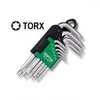 Набор Г-обр. ключей TORX T10-T50 9ед. супердл. с отверстием Toptul GAAL0915