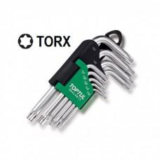 Набор Г-обр. ключей TORX T10-T50 9ед. длинных с отв. и шаром GAAL0925 TOPTUL