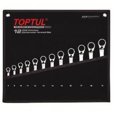 Набор ключей с трещоткой реверсивной 8-19мм 12ед. GPAQ1203 TOPTUL